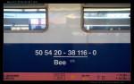 Bee 273, 50 54 20-38 116-0, DKV Olomouc, 19.04.2012, nápisy na voze