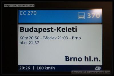 Bbdgmee 236, 61 54 84-71 014-5, DKV Praha, Ex 270 Budapest-Brno, 16.08.2013, info panel