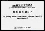 MV TÚDC 6054 09-44 605-7 - cedulka, Bautzen 1960-014, dom.st.Pha-Vysočany