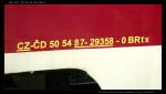 Btx 761, 50 54 29-29 358-8, jako BRtx 87-29 358-0, BistroBalm, Železniční společnost Tanvald, depo Tanvald, 14.08.2012, nápisy na voze I