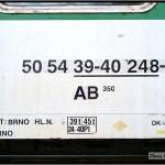 AB 350, 50 54 39-40 248-6 DKV Brno, R 904 Jeseník-Brno, 03.04.2011, nápisy na voze