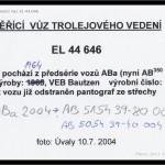 Měřící vůz trolejového vedení EL 44 646, původně ABa 2004 - tabulka s poznámkami