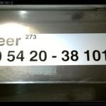 Beer 273, 50 54 20-38 001-2, DKV Olomouc, označení ve voze, 09.11.2009