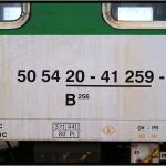 B 256, 50 54 20-41 259-3, DKV Olomouc, 03.04.2011, R 1403 Brno-Jeseník, pohled na vůz