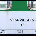 B 256, 50 54 20-41 513-3, DKV Brno, 05.04.2011, Praha Smíchov, nápisy na voze