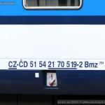 Bmz 234, 51 54 21-70 519-2, DKV Praha, Pardubice hl.n, 25.9.2015, označení